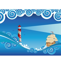 Lighthouse and boat in the sea7 vector