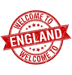 Welcome to england red round ribbon stamp vector