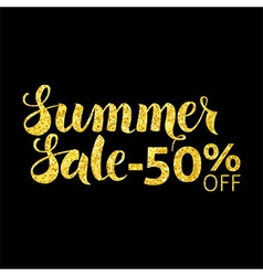 Gold summer sale 50 off lettering over black vector