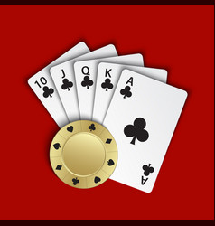 A royal flush of clubs with gold poker chip on vector