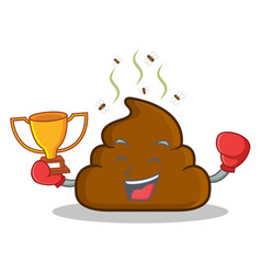 Boxing winner poop emoticon character cartoon vector