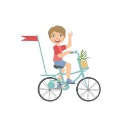 Boy riding a bicycle waving vector