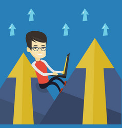 business man working on laptop in the mountains vector image vector image