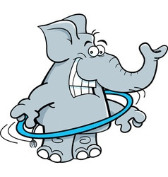 Cartoon elephant with a hula hoop vector image vector image