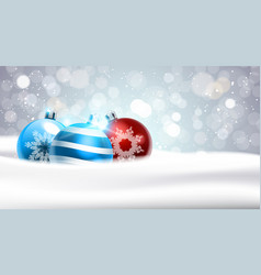 Christmas background with coloful balls in snow vector