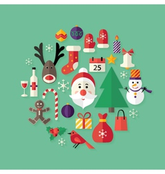 Christmas Flat Icons Set with Santa Claus over vector image vector image