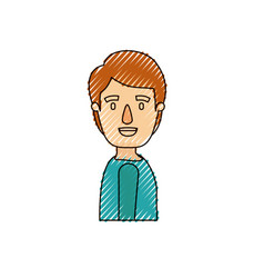 Color crayon stripe caricature side view young man vector