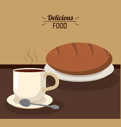 Delicious food bread fresh coffee cup hot spoon vector