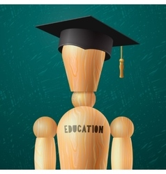 Education design wooden dummy in the mortarboard vector