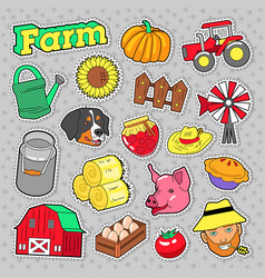 Farm agricultural elements set with farmer vector