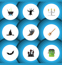 flat icon halloween set of magic candlestick vector image vector image