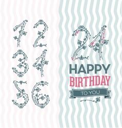 Flower numbers birthday set vector