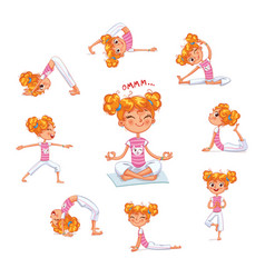 girl engaged in physical exercises yoga kid vector image