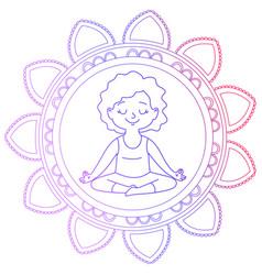 girl in a circle of mandala vector image