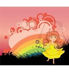 Girl playing with jump rope vector