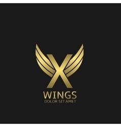 Golden x letter logo vector