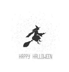 Halloween card with witch and text vector