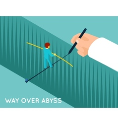 Hand drawing way over abyss for businessman vector image vector image
