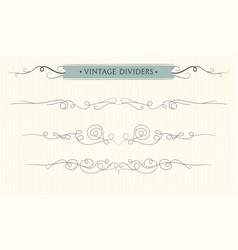 hand drawn flourishes vintage divider elements vector image