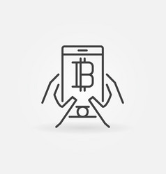 hands holding smartphone with cryptocurrency icon vector image vector image