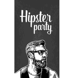 Hipster party for poster or greeting card vintage vector