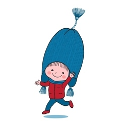 Little jumping boy in big winter knitted cap vector