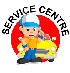 mechanic repairs car vector image