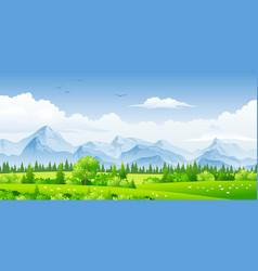 panorama landscape with trees and mountains vector image vector image