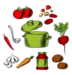 Recipe of tasty vegetarian soup vector image