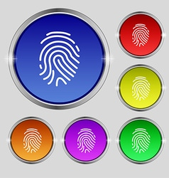 Scanned finger icon sign round symbol on bright vector