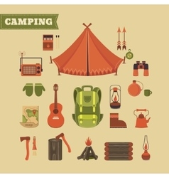 Set of camping vector image vector image