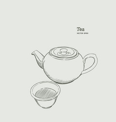 Set of hot tea kettle and glass hand draw sketch vector