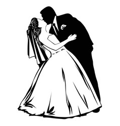 silhouettes of kissing bride and groom vector image vector image