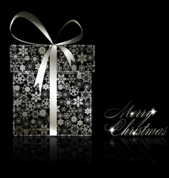 silver Christmas gift box vector image vector image