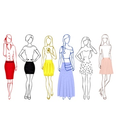 Sketches of girls in skirts vector image