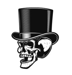 skull in gentleman hat design element for poster vector image vector image