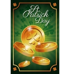 St patrick day gold coins shiny celebration vector