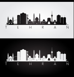 Tehran skyline and landmarks silhouette vector
