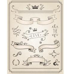 Vintage Wedding graphic set vector image