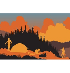 Wilderness campers vector image vector image