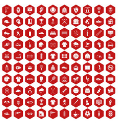 100 sport club icons hexagon red vector