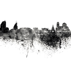 Sofia skyline in black watercolor on white vector