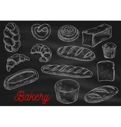 Bread sorts and bakery products sketch vector