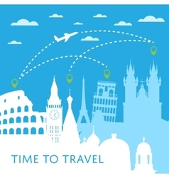 Time to travel concept with cityscape silhouettes vector