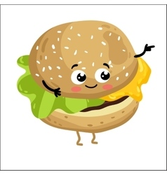 Funny cheeseburger isolated cartoon character vector