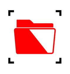 folder sign   red icon inside vector image