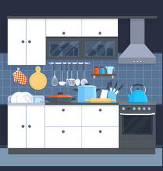 Kitchen home interior with oven and kitchenware vector