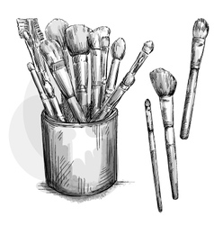 Make up brushes collection brushes in a case vector
