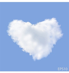 Realistic heart shaped cloud in the blue sky vector
