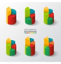 Segmented and multicolored pie charts set vector